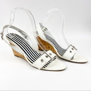 Oh Deer! | Pout White Patent Leather Wedge 8.5